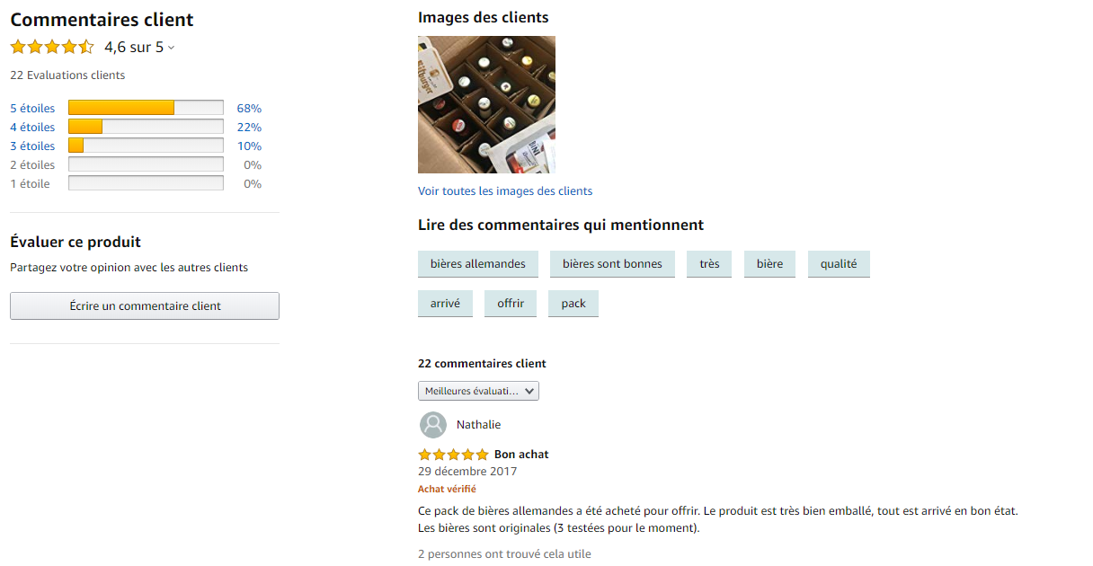 Commentaires clients sur Amazon